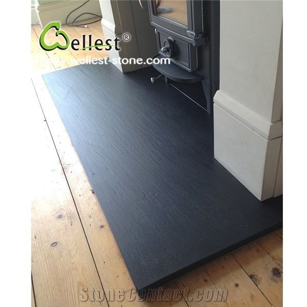 Riven Black Slate Panel For Fireplace Hearth From China
