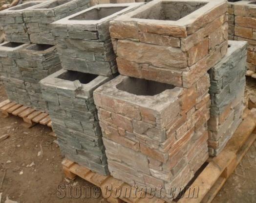 Yellow Slate Cement Pillars Cement Pillars Design Cement