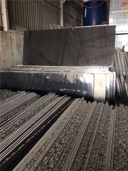 Cambodia Black Granite Tiles Slabs Quarry From Viet Nam