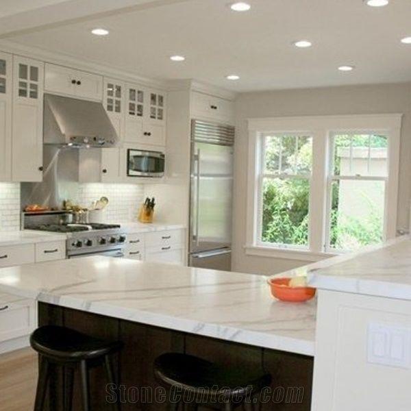 Carrara Marble Kitchen Benchtops: Calacatta Carrara White Marble Counter Top/Kitchen Tops/Natural Marble Kitchen Bench Countertop