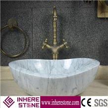 Carrara White Marble Vessel Sink, Bianco Carrara Bathroom Wash Basin, Oval Sinks