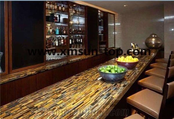 Yellow Tiger Eye Semiprecious Stone Bar Top Reception Top
