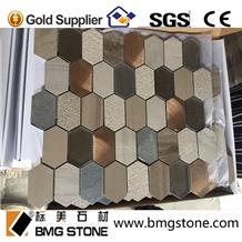 Athens Grey Marble Pattern Glass Aluminum Mosaic