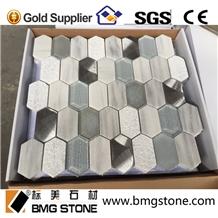 Marmala White Marble, Glass and Aluminum Mosaics