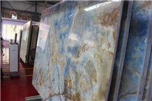 Golden Blue Onyx, Blue Onyx Slabs, Blue Onyx Polished Slabs for Walling and Flooring