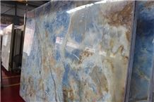 Onice Glaciale, Italy Blue Onyx Tile & Slab, Blue Onyx Slabs Polished Italy Blue Walling and Flooring Slabs