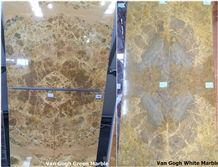 Yellow Marble Book Matching Tiles (Cut to Sizes) - Van Gogh White/Green