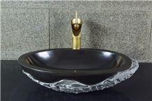 China Black Granite Polished Washbasin, Sink