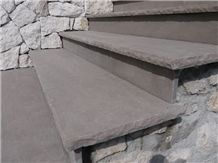 Jaipur B Dark Quartzite Steps and Risers, Grey Quartzite Stairs, Stair Risers