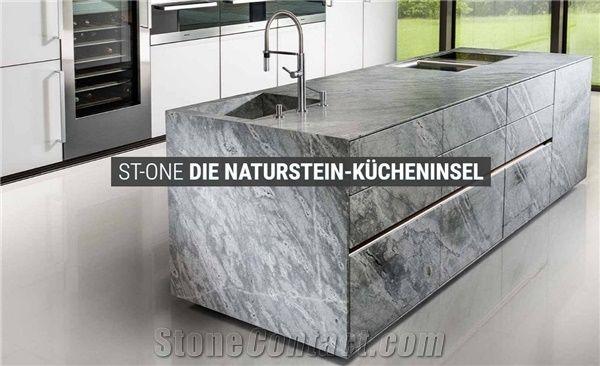 Atlantis Grey Marble Kitchen Island Top