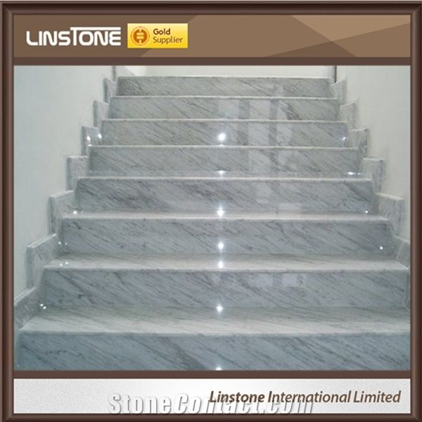 Modern Style Polished Bianco Gioia Marble Stair Tile From