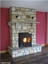 Fireplace with Stove with Split Creggaun Sandstone Cladding