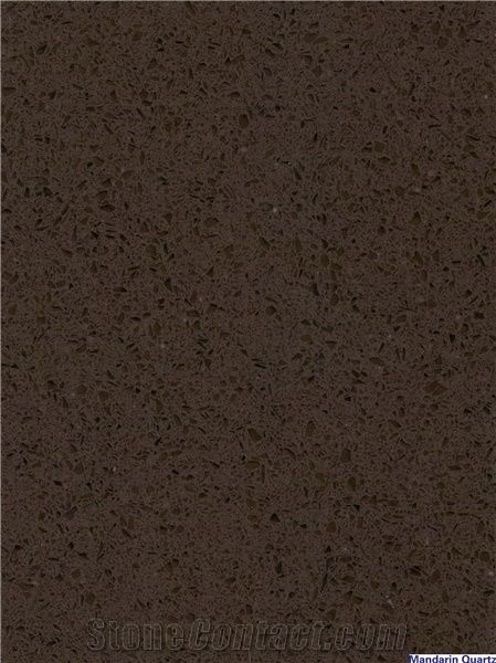 Dark Brown Quartz Stone Tile Slab With Crystal Gl Prefabricated And Polished