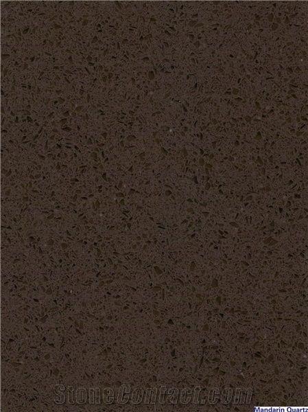 Dark Brown Quartz Stone Tile Slab With