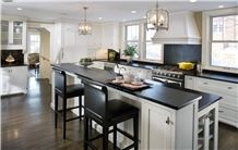 Black Minas Soapstone Oiled, Leathered Kitchen Countertops
