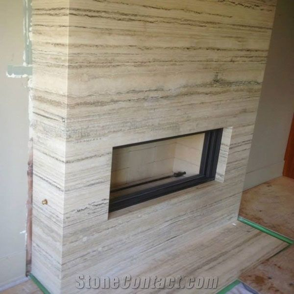 Ocean Blue Vein Cut Travertine Slab Fireplace Book