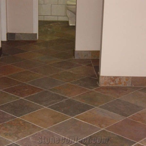 Rajah Red Multicolor Slate Floor Tiles