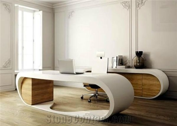 High gloss modern design solid surface artificial stone black elegant office table executive ceo for Table bureau design