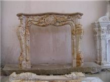 Brown French Style Fireplace-Rsc076 Marble