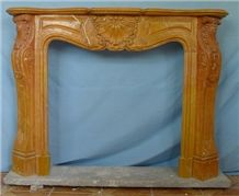Brown French Style Marble Fireplace-Rsc046