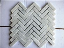 Herringbone Carrara White Marble Mosaic