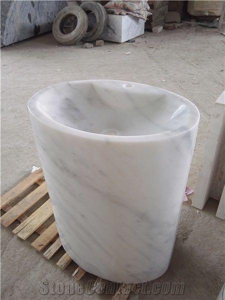 Italian White Carrara Marble Pedestal Sink From China