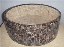 Oval Emperador Marble Mosaic Sink