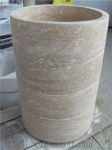 Yellow Round Pedestal Sink, Beige Marble Sinks U0026 Basins