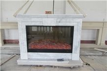 Made in China Handcarved Bianco Carrara White Marble Fireplace Mantel