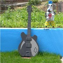 Garden Decoration Creative Black Granite Guitar Sculpture