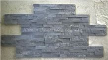 Natural Split Cultured Stone/Black Slate Culture Stone/ 4 Lines Mushroom Surface Black Slate Culture Stone for Wall