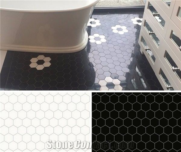 Honeycomb Mosaic Tile In Nero Panthera And White Thassos From