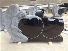 American Style Tombstone-Angel with Heart Die-Heart Gravemarker-Angel Monumetn-Angel Die-Us Monument with Angel Hugging Heart