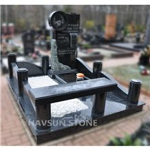 Black Granitemonument,Photo Etching/ Shadow Carving, with Tombstone Fence,Borders,Columns