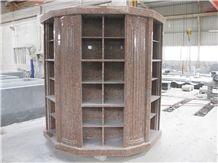 Imperial Red Granite Custom Design Cremation Columbarium Granite Niche Columbarium