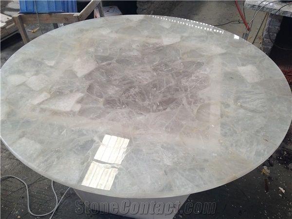 White Quartz Semiprecious Stone Table Tops From China