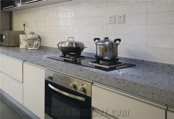 Crystal Grey Quartz Stone Kitchen Countertops