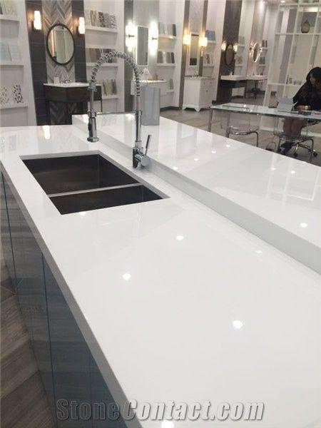 Crystallized Stone Of Kitchen Countertop White Nano