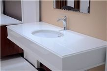 High Quality Pure White Nano Galss Crystallized Stone Vanity Tops /Bath Tops