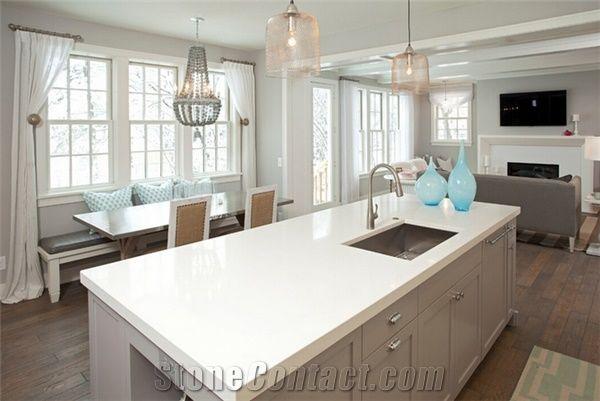 Pure White Quartz Kitchen Countertops