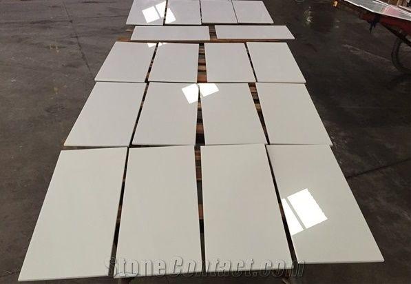 Pure White Quartz Stone Tile For Flooring Engineered