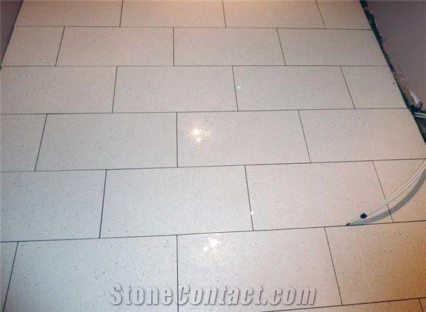 White Quartz Stone Flooring Tile Cut To Size Engineered