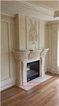 Crema Beida Fireplace Mantel