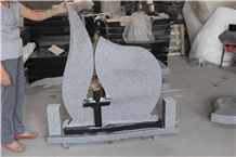 North G603 White Sesame and Shanxi Black Granite Tombstones Western Style Cross Headstone