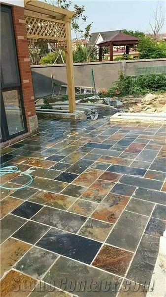 rusty colorful brown slate tiles pattern slabs for outdoor garden paving low prices - Garden Tiles