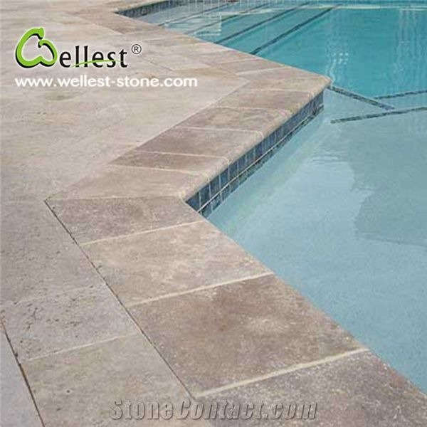 Factory Manufacture Beige Travertine Swimming Pool Coping ...