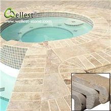 High Quality Honed Surface Beige Travertine Swimming Pool Coping Tile