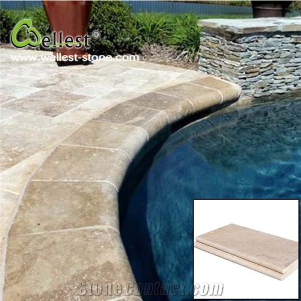 High Quality Honed Surface Beige Travertine Swimming Pool ...