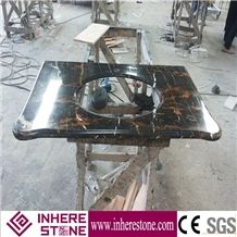 Black Gold Flower Marble Bathroom Vanity Top