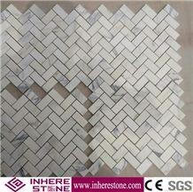 Calacatta White Marble Herringbone Mosaic Tile